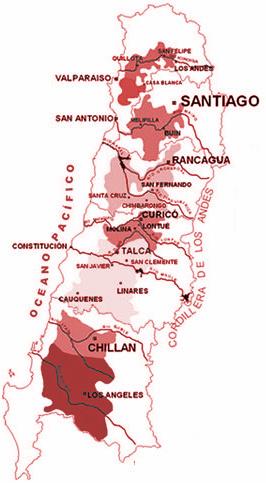 Vinařské oblasti Chile