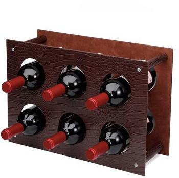 Stojan na víno hnědý 6 láhví
