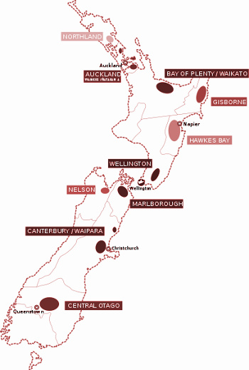Vinařské oblasti Nového Zélandu