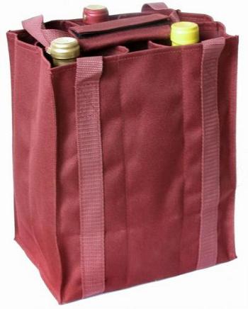 Taška na 6 láhví vína bordó